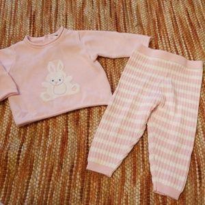 Size 3 6 month bunny sweater leggings bundle set